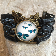 Dragonfly Braided Clasp Bracelet