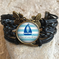 Sailing Quote Braided Clasp Bracelet