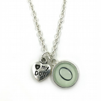 Personalised Love My Dog, Personalized Necklace, Initial Charm, Monogram, Dog Gi