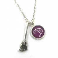 Personalised Wizard Witches Broomstick Charm Necklace, magic, wizard, Personaliz
