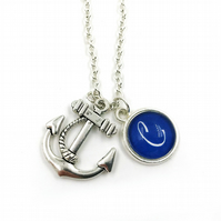 Personalised Anchor Charm Necklace, Sailor, Sailing, Sea Charm, Personalized Nec