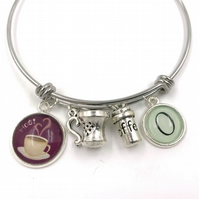 Personalised Coffee Lover Charm Bracelet, Bangle, Personalized Bracelet, Initial