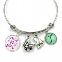Personalised Baby Girl Charm Bracelet, Bangle, Personalized Bracelet, Initial Br