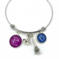 Personalised Witch Wizard Charm Bracelet, Bangle, Personalized Bracelet, Initial