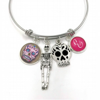 Personalised Day Of The Dead Charm Bracelet, Bangle, Personalized Bracelet, Init