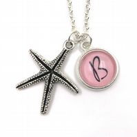 Personalised Starfish Charm Necklace, Beach Charm, Ocean Charm, Personalized Nec