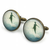 Vintage Surfing Cufflinks, surfer cufflinks, nautical, cuff links, surfing jewel