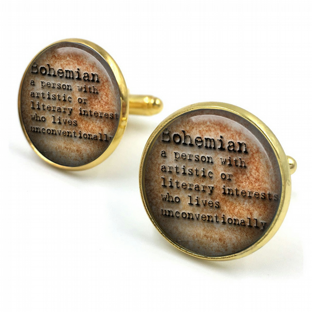 Bohemian Dictionary Cuff Links, Dictionary Cufflinks, Dictionary Sayings Jewelry