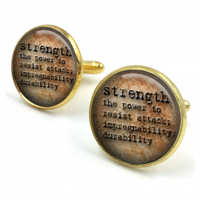 Strength Dictionary Cuff Links, Dictionary Cufflinks, Dictionary Sayings Jewelry
