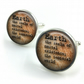 Earth Dictionary Cuff Links, Dictionary Cufflinks, Dictionary Sayings Jewelry, E