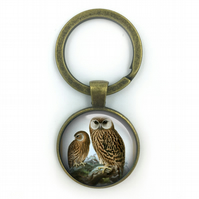 Laughing Owl British Birds Keyring, Owls, Gift for Him, Gift for Men, painting,