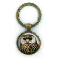 Owl British Birds Keyring, Owls, Gift for Him, Gift for Men, painting, British b
