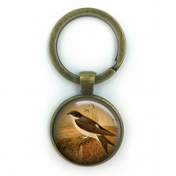 Housemartin British Birds Keyring, Housemartin ,Gift for Him, Gift for Men, pain