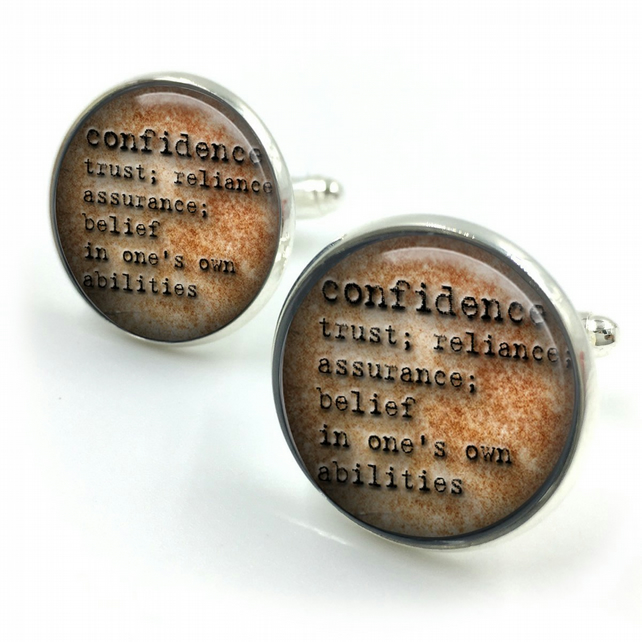 Confidence Dictionary Cuff Links, Dictionary Cufflinks, Dictionary Sayings Jewel