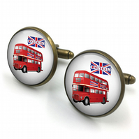 London Bus Cufflinks, London Cuff Links, London Classic Bus, London, Red Buses,