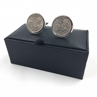 Lucky Sixpence Cufflinks, Sixpence, coin cufflinks, 60th birthday, sixpence cuff