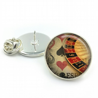 Roulette Lapel Pin Badge, Casino Lapel, Poker, Cards, Gambling, Vintage, Gift Fo