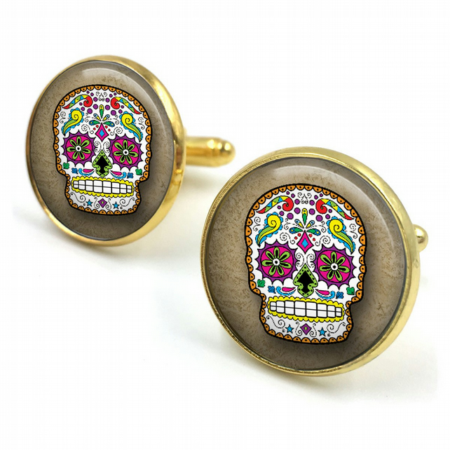 Sugar Skull Cufflinks, day of the dead, dia de los muertos, skull, cuff links