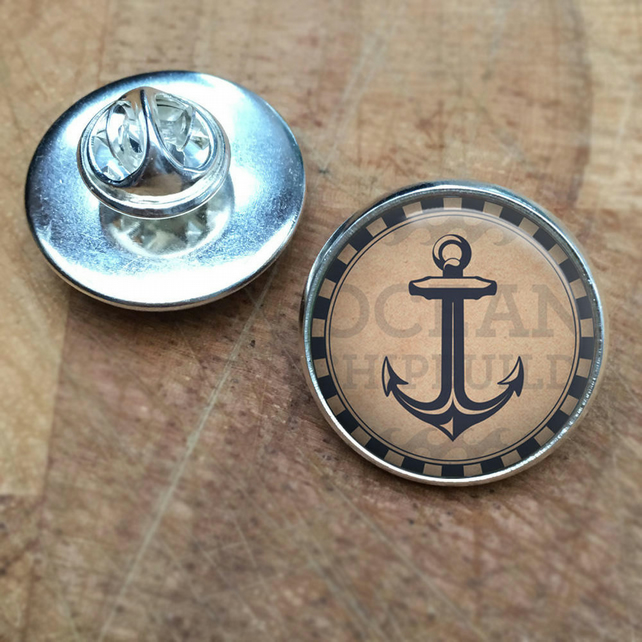 Nautical Anchor Unique Lapel Pin Badge, sea, beaches, ocean, beach, under the se