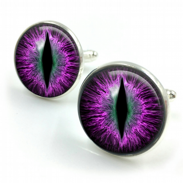 Purple Dragons Eye Cufflinks, Dragons Eyes, Fantasy, Dragon, cufflinks, gifts fo