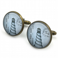 Vintage Lighthouse Cufflinks, sealife cufflinks, nautical, cuff links, jewelry,