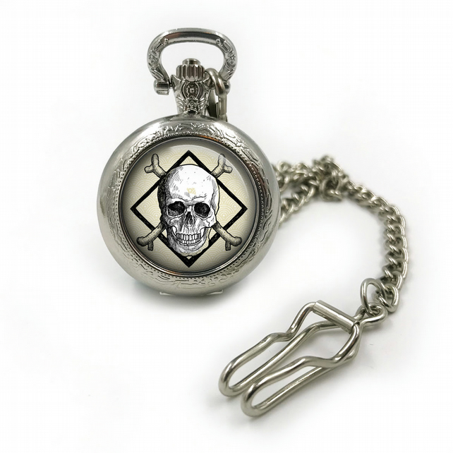 Vintage Skull Pocketwatch, Skulls pocket watch, pocketwatches, mens pocket watch