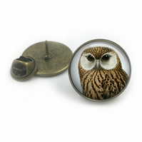Laughing Owl Lapel Pin Badge, lapel, Gift for him, Owl, British birds, wildlife,