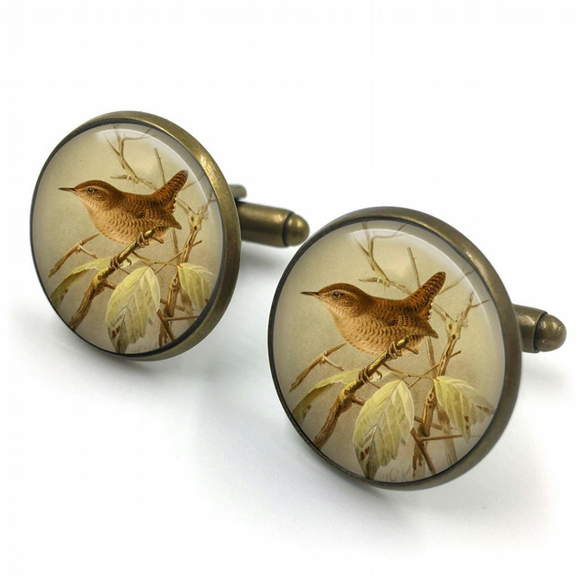 Wren Cufflinks, English Wren ,Gift for Him, Gift for Men, painting, English Bird