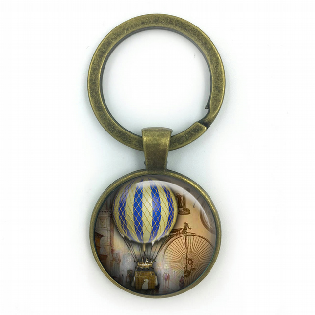 Vintage Hot Air Balloon Keyring, Vintage Hot Air Balloon Keyring,anniversary gif