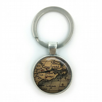 Vintage World Maps Keyring, World Map Keyring, wedding gift, anniversary gift, h