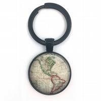 Vintage World American Maps, World Map Keyring, wedding gift, anniversary gift,
