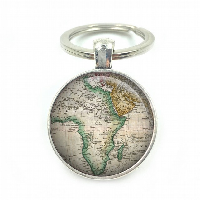 Vintage World Africa Maps, World Maps Keyring, wedding gift, anniversary gift, h