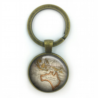 Vintage World Australia Maps, World Map Keyring, wedding gift, anniversary gift,