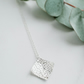 Sterling silver handmade pendant, square pendant, solid silver square necklace,