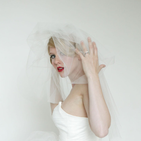 50s vintage inspired veil elbow length tulle