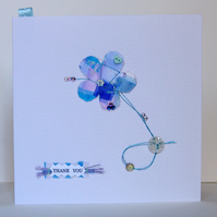Greeting Card,'Blue Flower Buttons & Bows', can be personalised