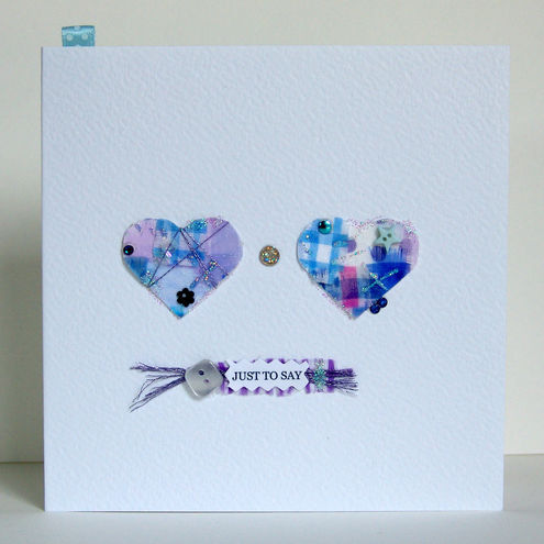 Greeting Card, 'Two Hearts Buttons & Bows', can be personalised