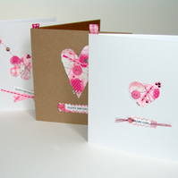 Greeting Card, 'Baby Girl Buttons & Bows', can be personalised