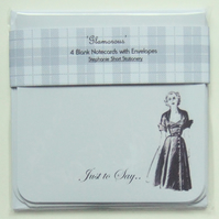 Notecards, Set of Four 'Glamorous Illustration' Blank Notecards with Envelopes