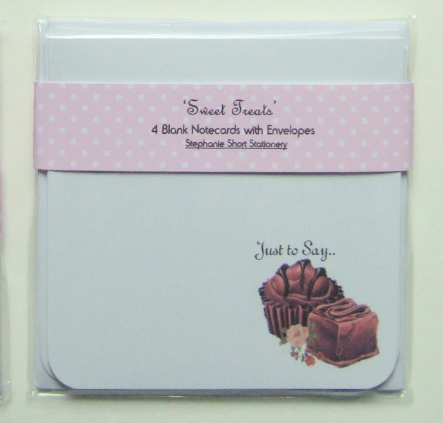 Notecards, Set of Four 'Sweet Treat' Blank Notecards with Envelopes