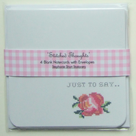 'Stitched Thoughts' Set of Four Cross Stitch Theme, Notecards & Envelopes