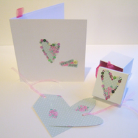 Mothers Day Card,Gift Box & Tags, Handmade Set