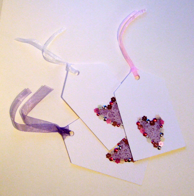 'Lace Heart ' Gift Tags Pack of Three
