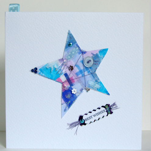 Greeting Card, 'Star Buttons & Bows', can be personalised