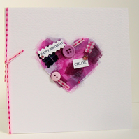 Personalised & Chosen Colours,'Buttons & Bows'Handmade Birthday Card