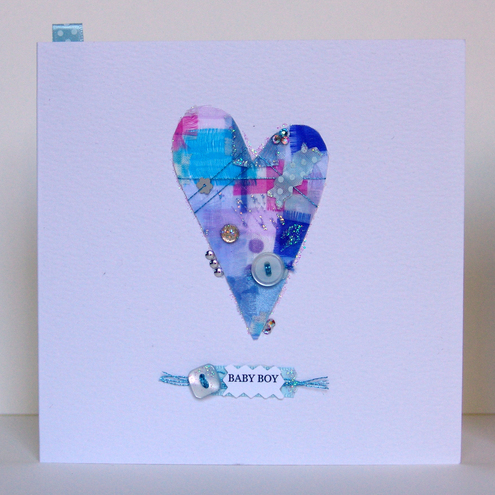 'Buttons & Bows' Baby Boy Greeting Card