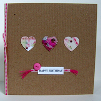 Greeting Card, 'Hearts Buttons & Bows' can be personalised