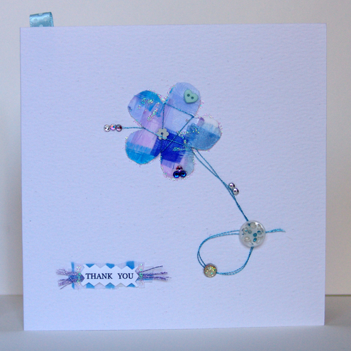 'Buttons & Bows' Thank You Greeting Card