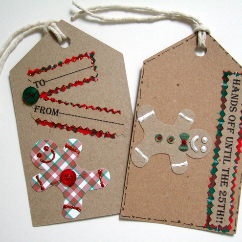Christmas Gift Tags'Gingerbread Man Message Tags' Can be Personalised,2pack