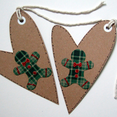 Christmas Gift Tags,Gingerbread Man Heart Christmas Gift Tags Handmade